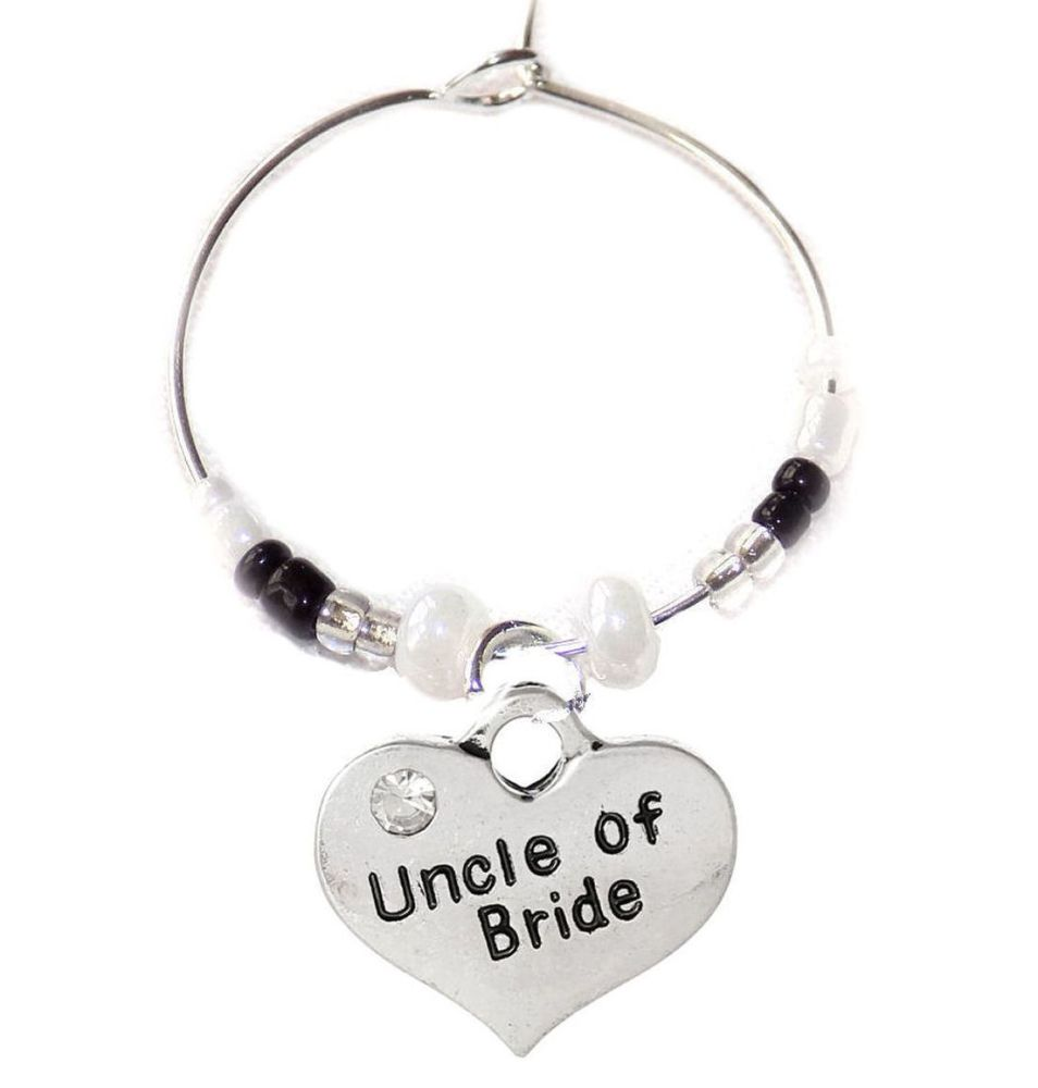 Uncle of the Bride Wine Glass Charm