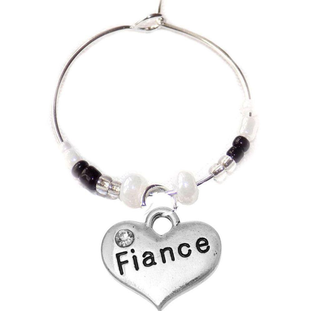 Fiance Wine Glass Charm