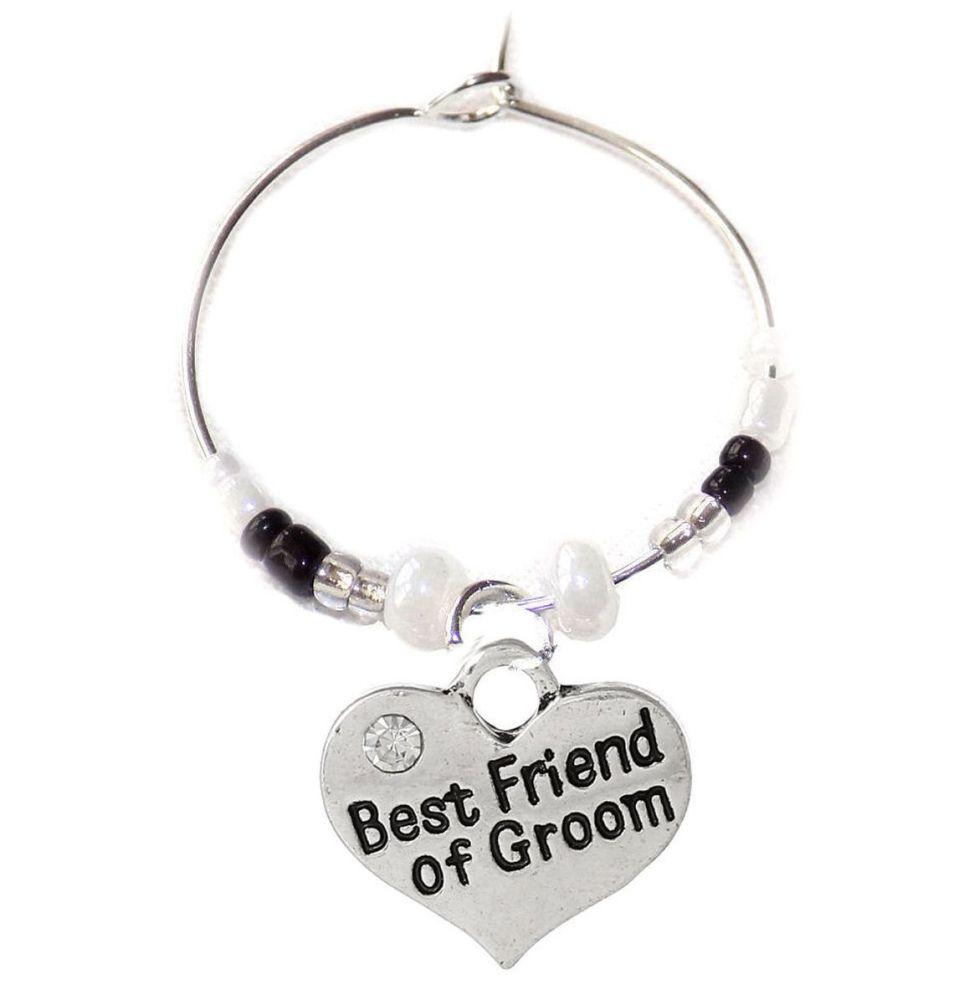 Best Friend of the Groom Wine Glass Charm