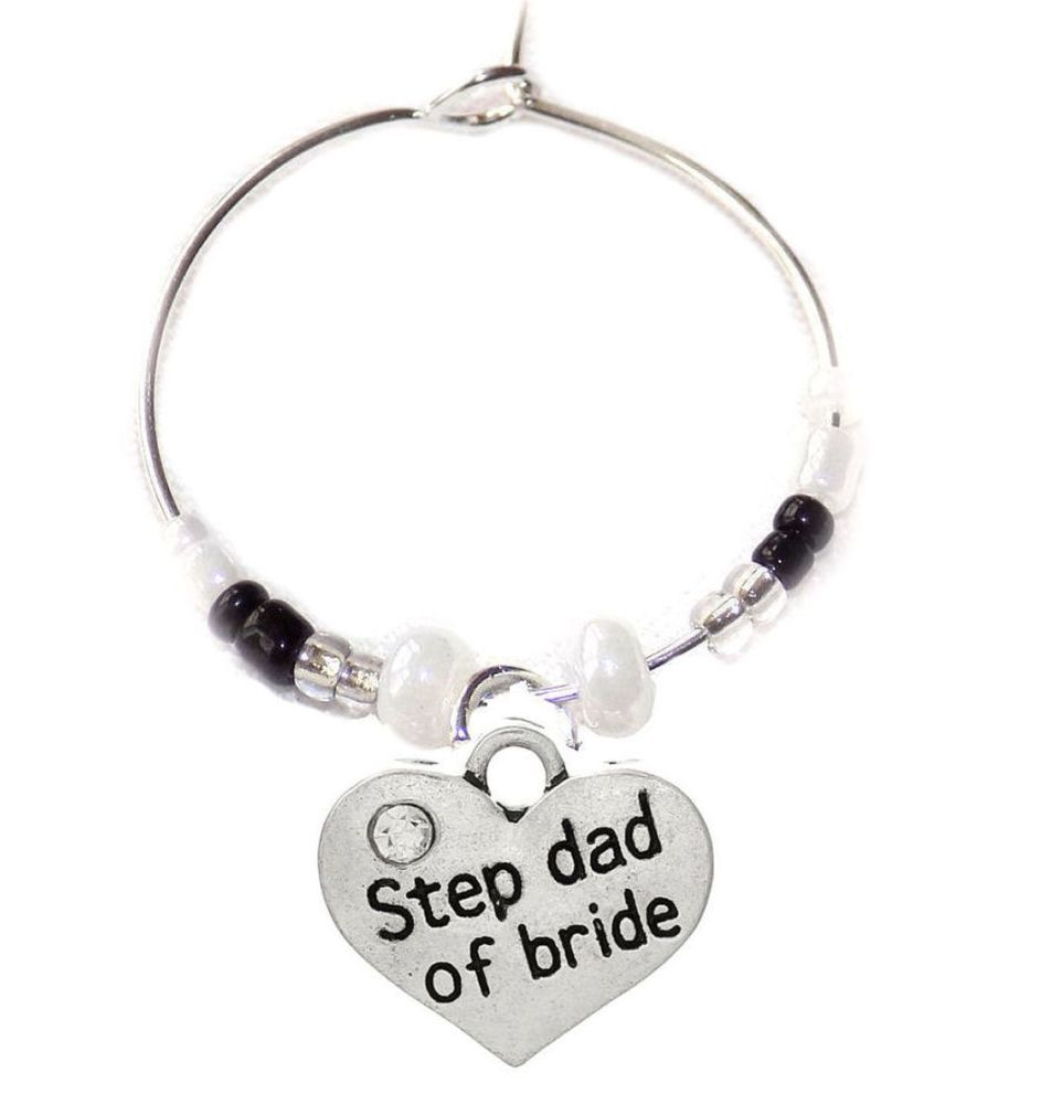 Step Dad of the Bride Wine Glass Charm