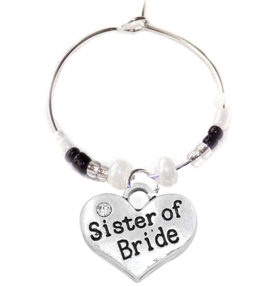 Sister of the Bride Wine Glass Charm