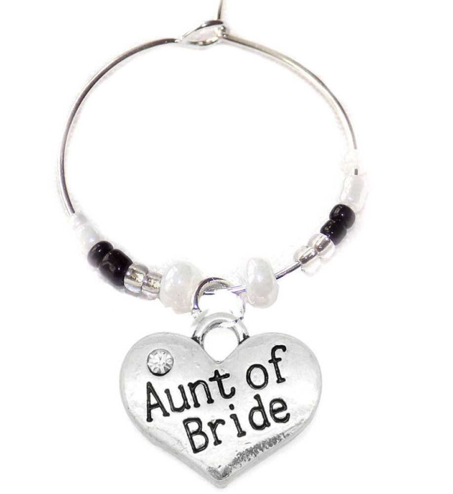 Aunt of the Bride Wine Glass Charm