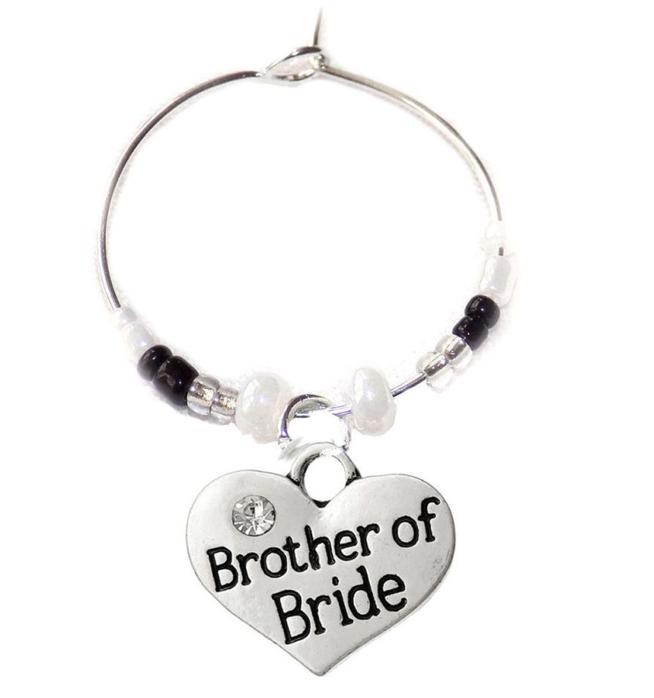 Brother of the Bride Wine Glass Charm