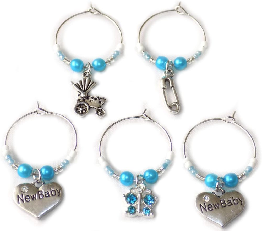 Baby Wine Glass Charms, Set of 5 in a BlueTheme