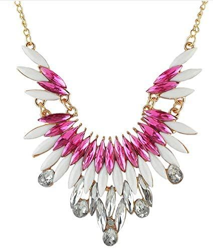 Pink and White Gemstone Wing Style Gold Statement Necklace