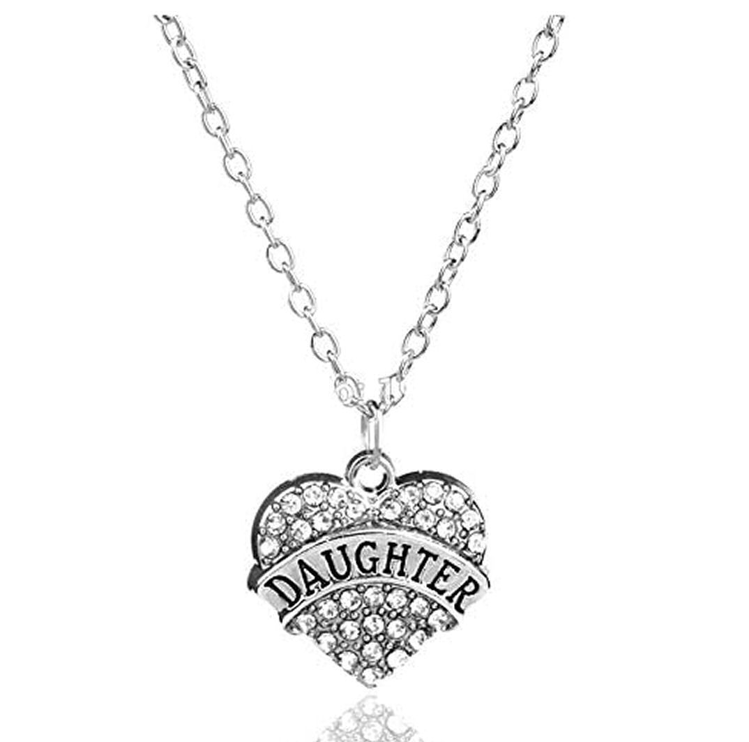 Daughter Heart Pendant Necklace in Silver and Gemstones