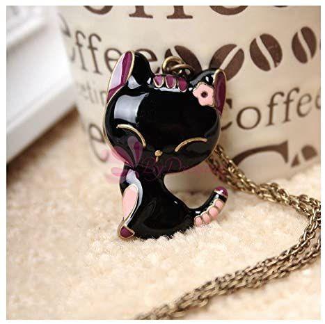 Black Cat Pendant Long Necklace