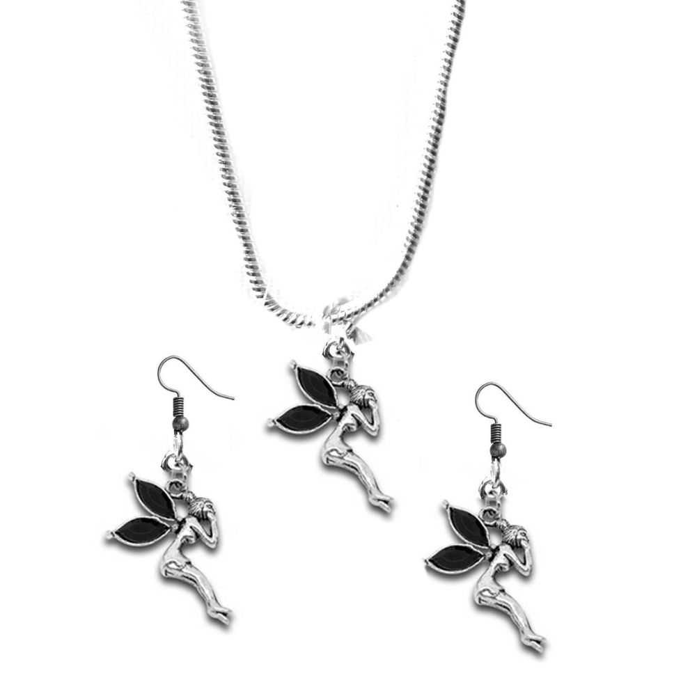Black Fairy Earrings and Necklace Gift Set