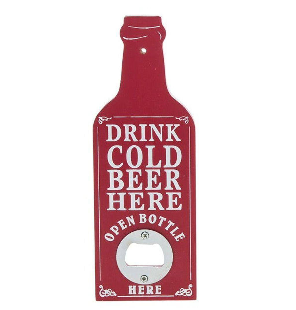Bottle Opener Plaque - Vintage Retro Red Design