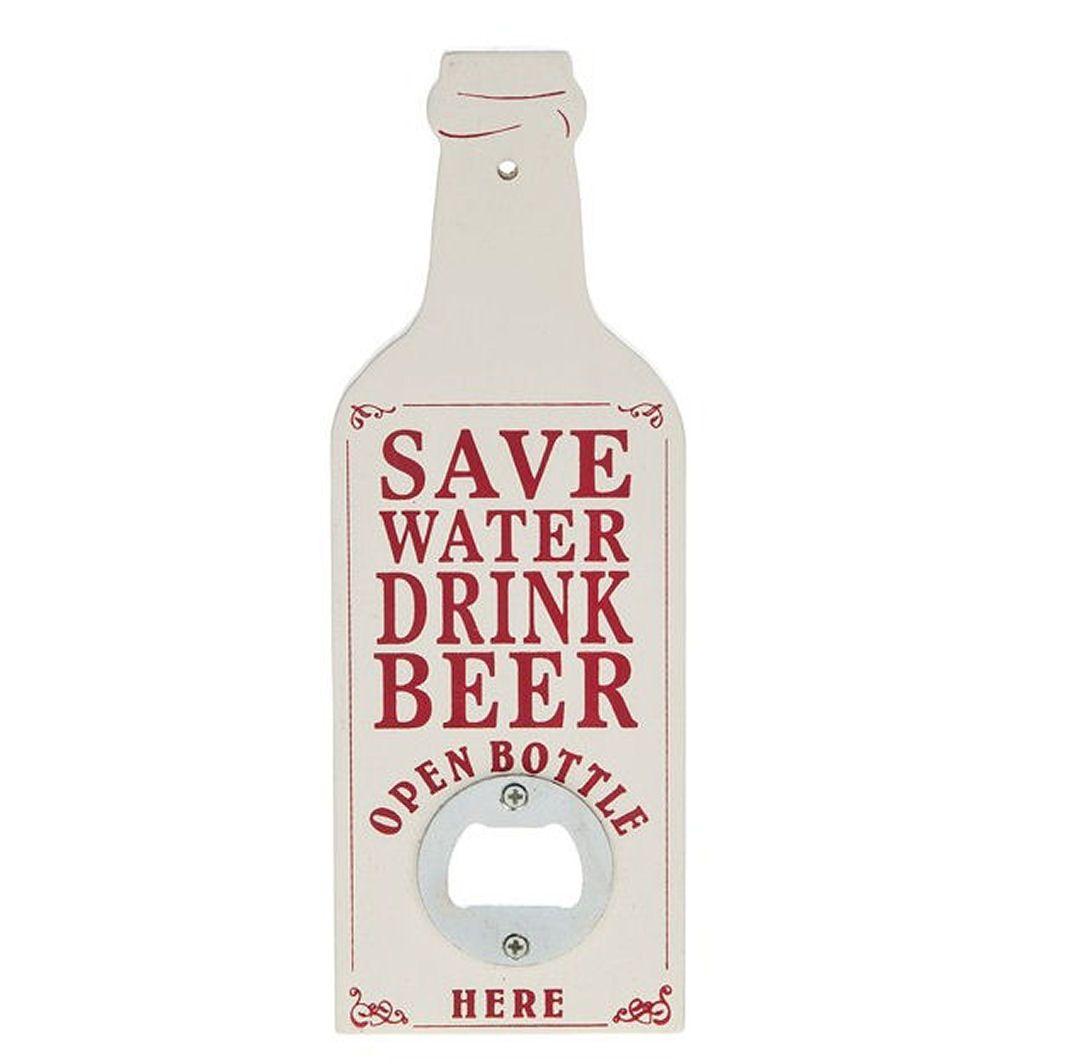 Bottle Opener Plaque - Vintage Retro White Design