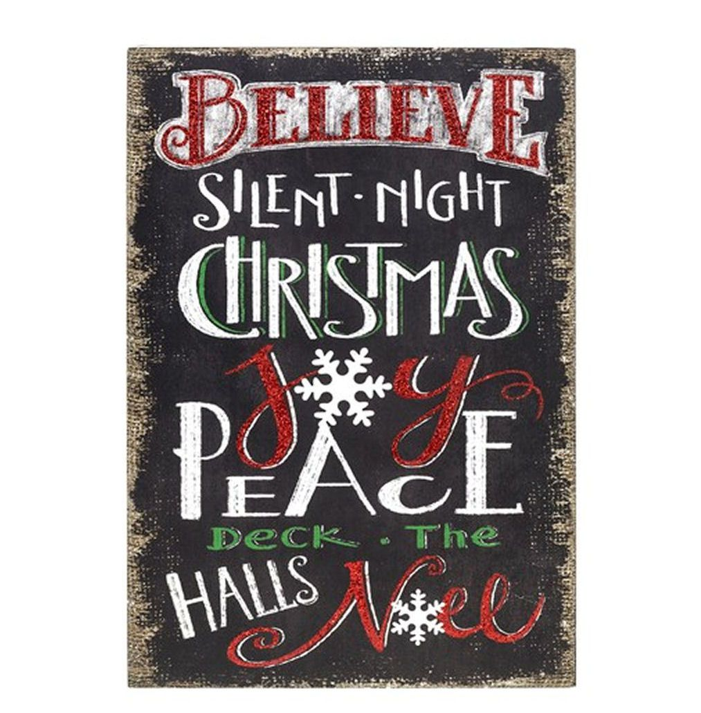 Christmas Plaque Chalkboard Oblong Large - Believe in Christmas