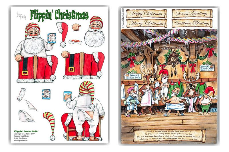 Flippin Christmas A4 Decoupage & Backing Paper Set - Santa