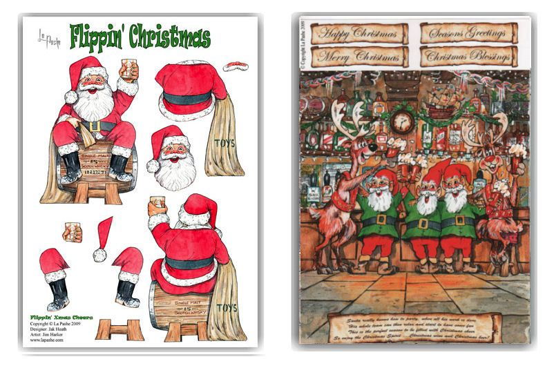 Flippin Christmas A4 Decoupage & Backing Paper Set - Santa Cheers