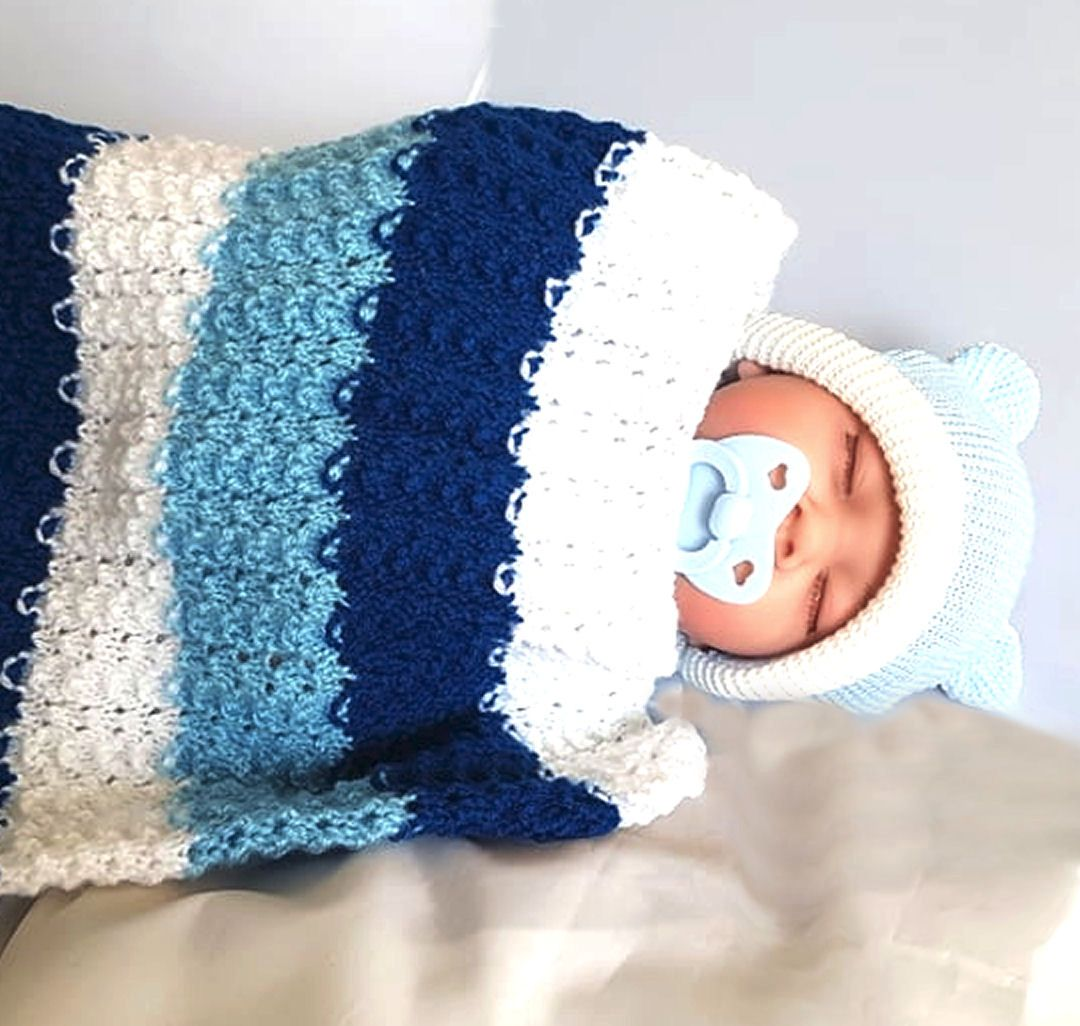 Blue and White Handcrafted Knitted Pram Blanket