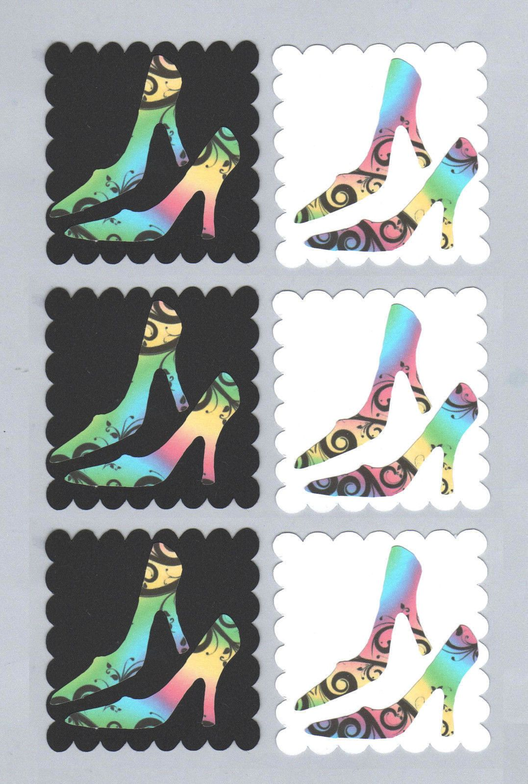 High Heels Stiletto Card Toppers, Rainbow Swirl x 6