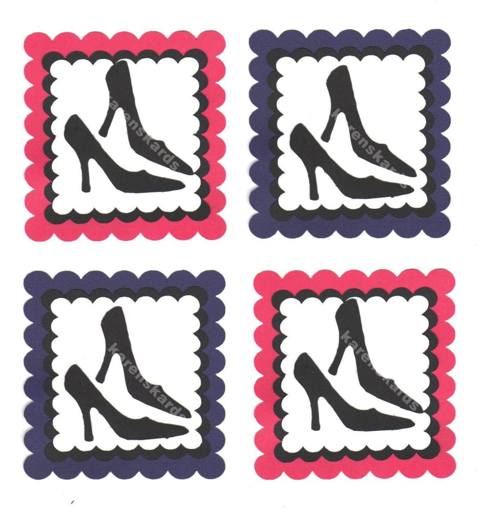 High Heels Stiletto Card Toppers, Pink and Purple x 4