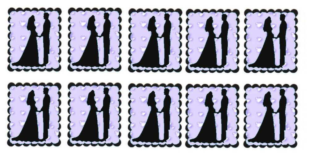 Lilac Hearts Bride and Groom Flat Card Making Toppers