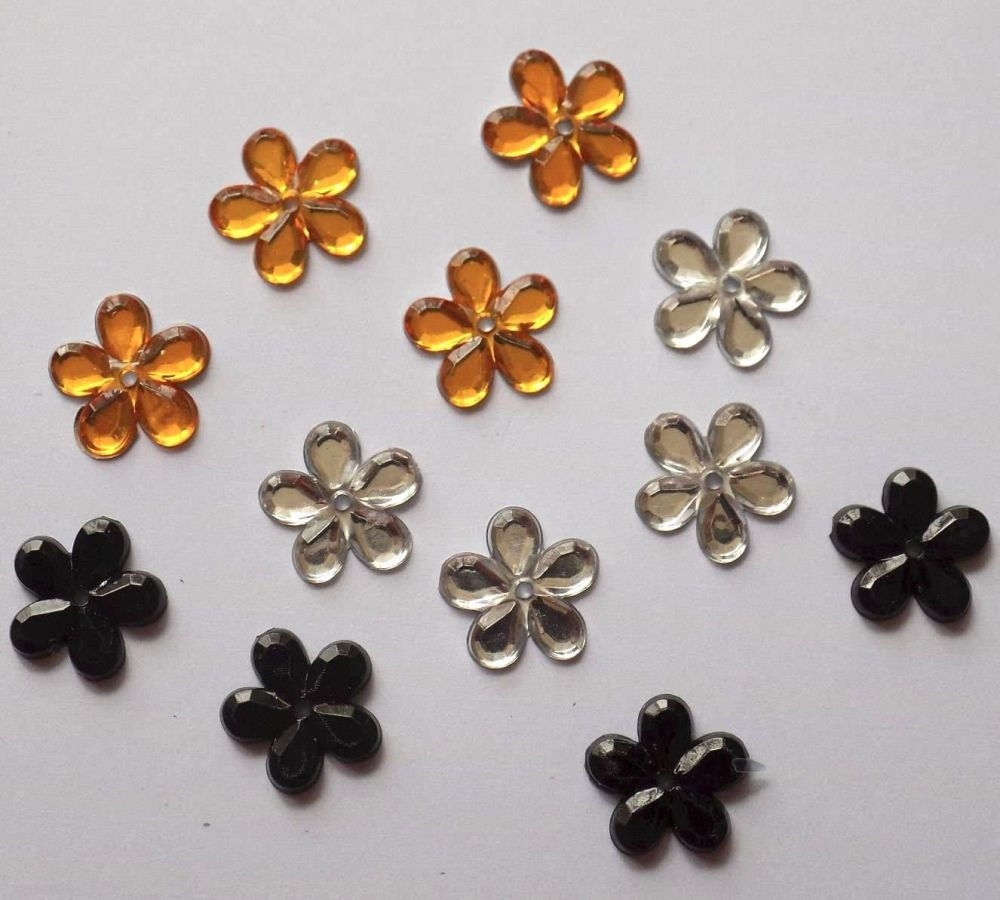 Flower Gems in Gold, Black and Silver x 10