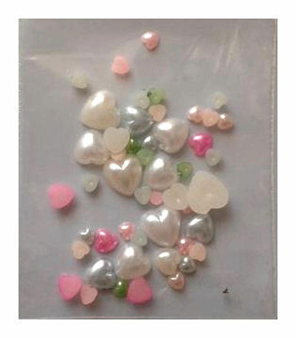 Pearl Heart Embellishments x 20, Assorted Sizes