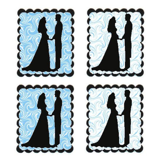 Blue Swirl Bride and Groom Flat Card Making Toppers