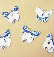 Butterfly Embellishments, Blue Swirl Design x 30