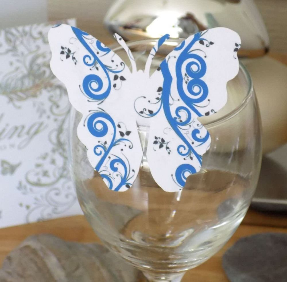 Butterfly Embellishments, Blue Swirl Design x 10