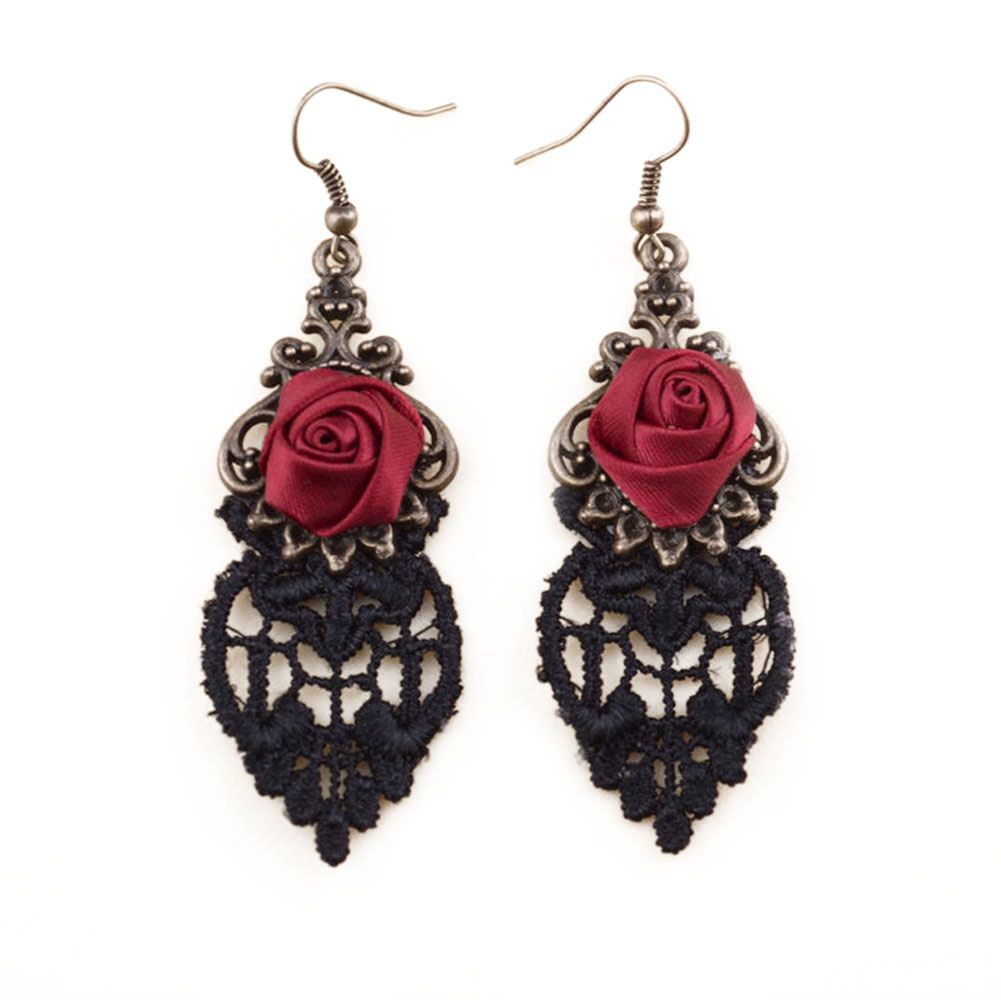Gothic Halloween Earrings - Red Rose, Black Lace and Bronze