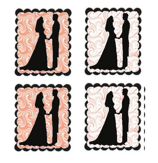 Peach Swirl Bride and Groom Flat Card Making Toppers