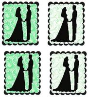 Green Swirl Bride and Groom Flat Card Making Toppers