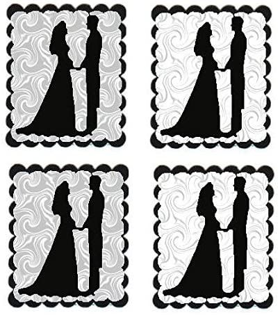 Grey Swirl Bride and Groom Flat Card Making Toppers