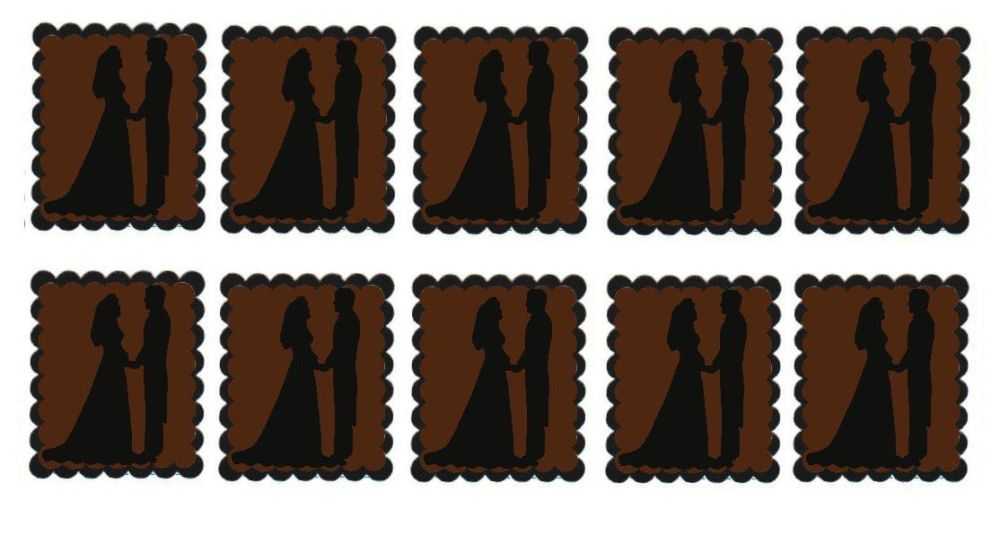 Brown Bride and Groom Flat Card Making Toppers