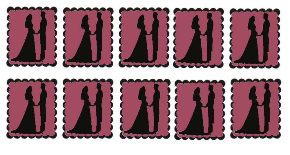 Mauve Bride and Groom Flat Card Making Toppers