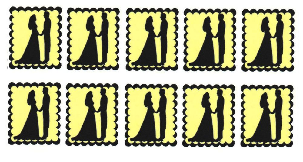 Pale Yellow Bride and Groom Flat Card Making Toppers
