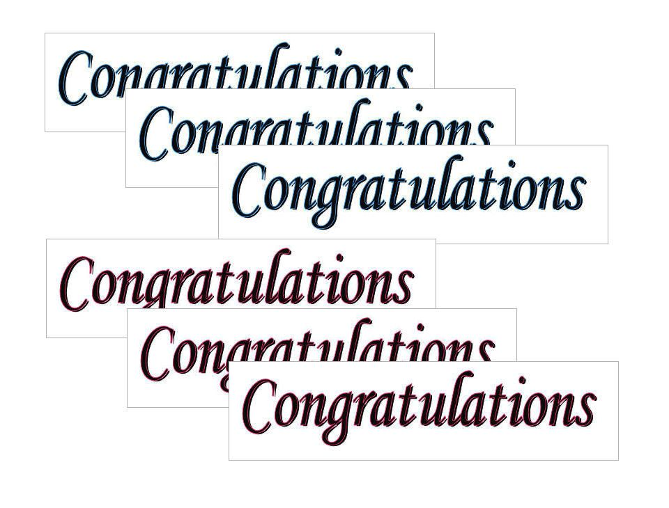 Congratulations Banner Embellishments x 12, Pink and Blue Text