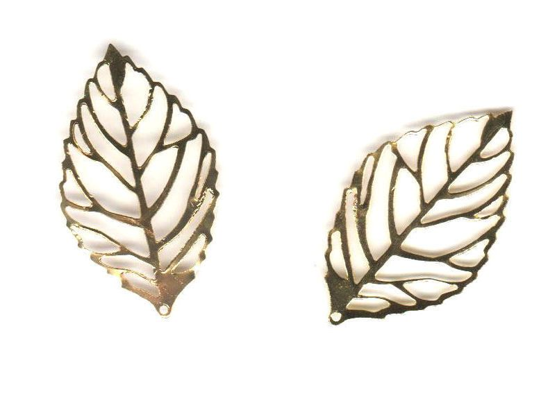 Metal Square Shapes - Gold Leaves