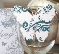 Butterfly Embellishments, Dark Green Swirl Design x 10