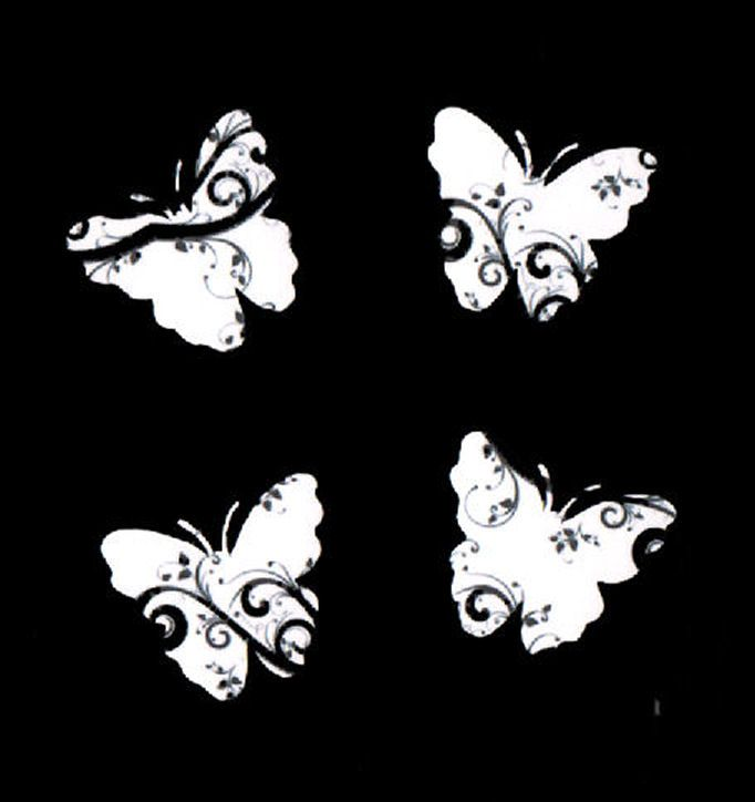 Butterfly Embellishments, Black Swirl Design x 30