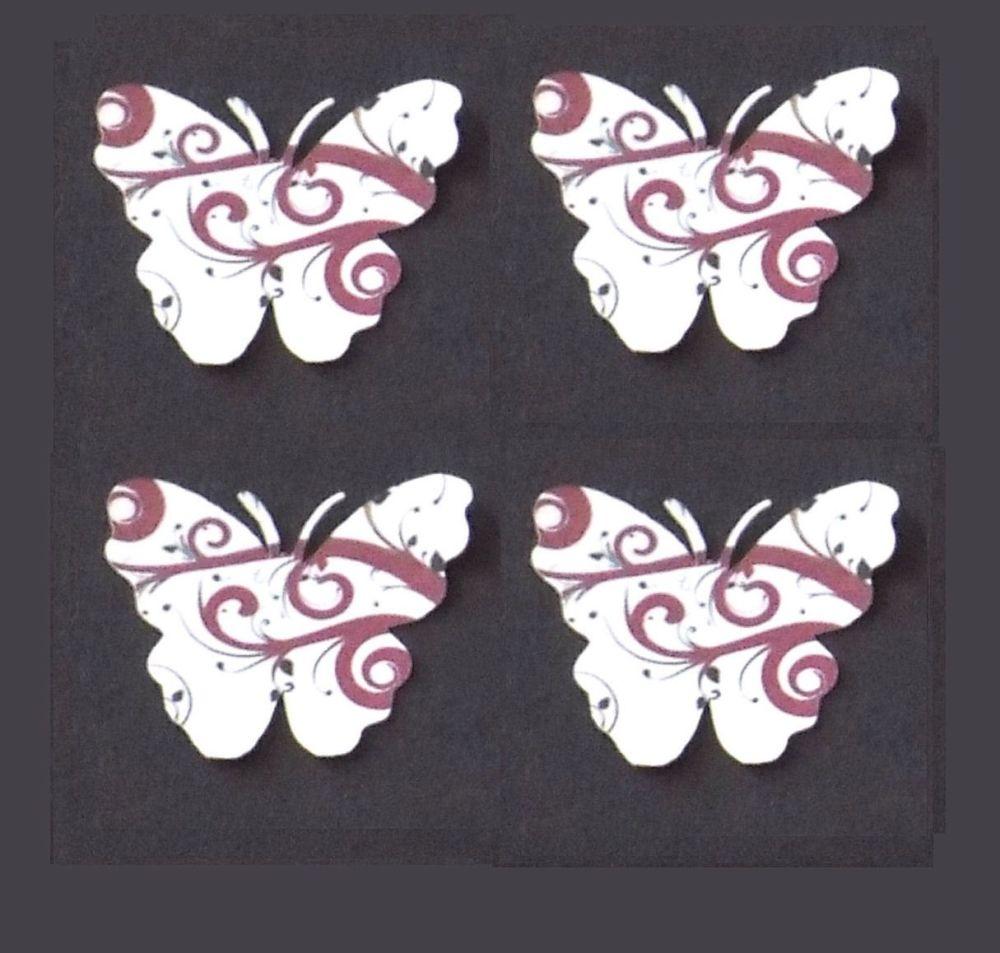 Butterfly Embellishments, Brown Swirl Design x 30