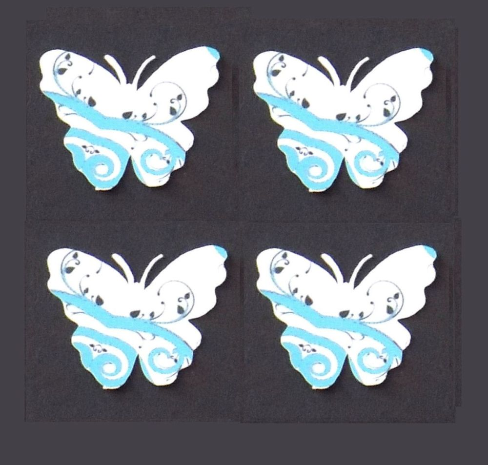 Butterfly Embellishments, Light Blue Swirl Design x 30