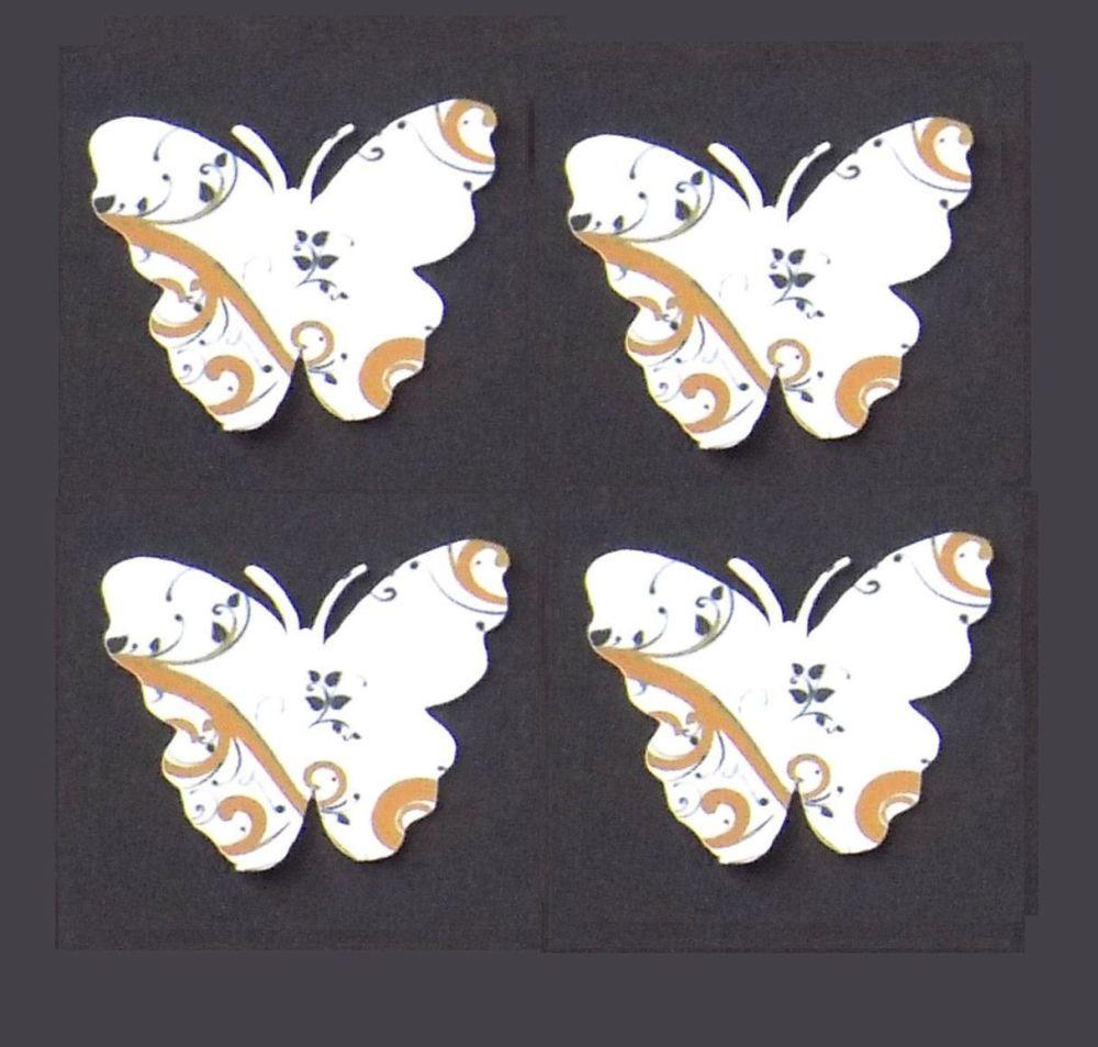 Butterfly Embellishments, Gold Swirl Design x 30