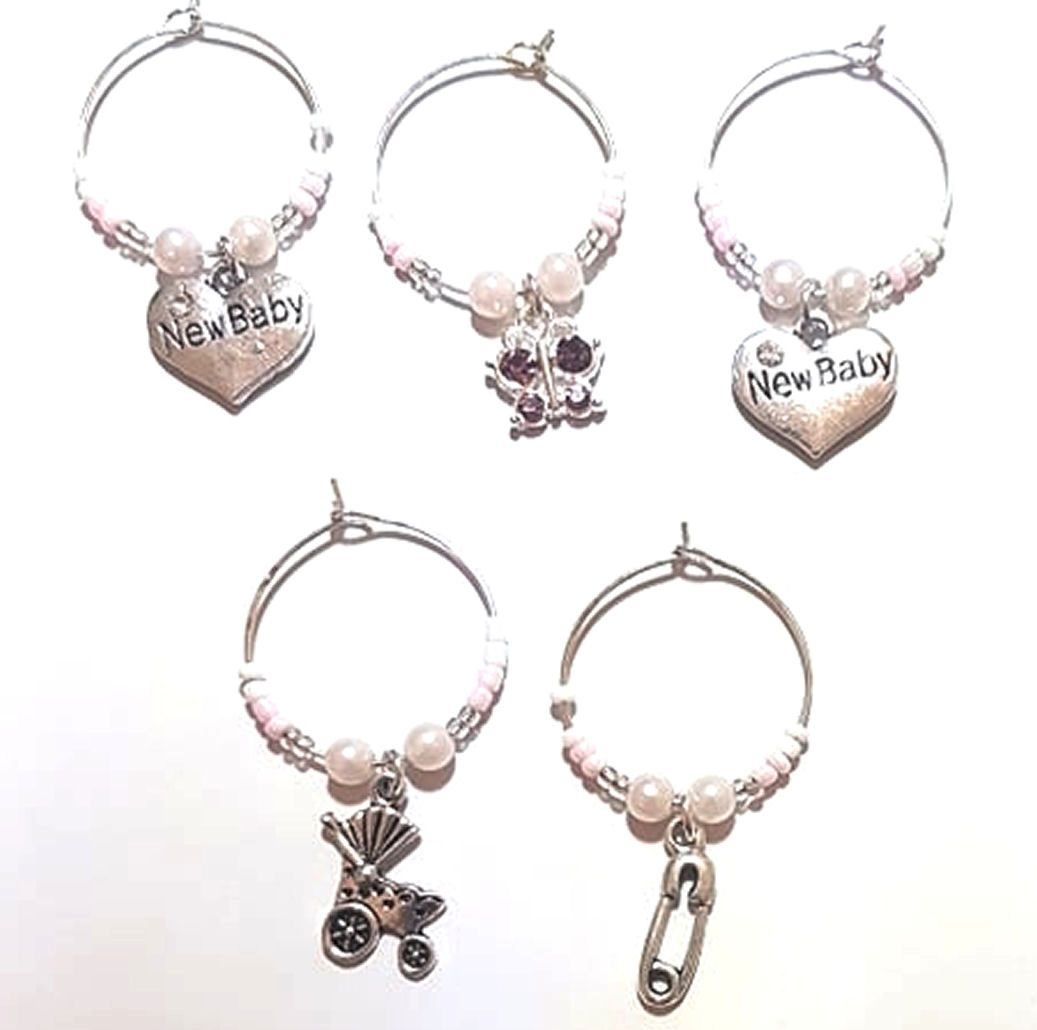 Baby Wine Glass Charms, Set of 5 in a Pink Theme