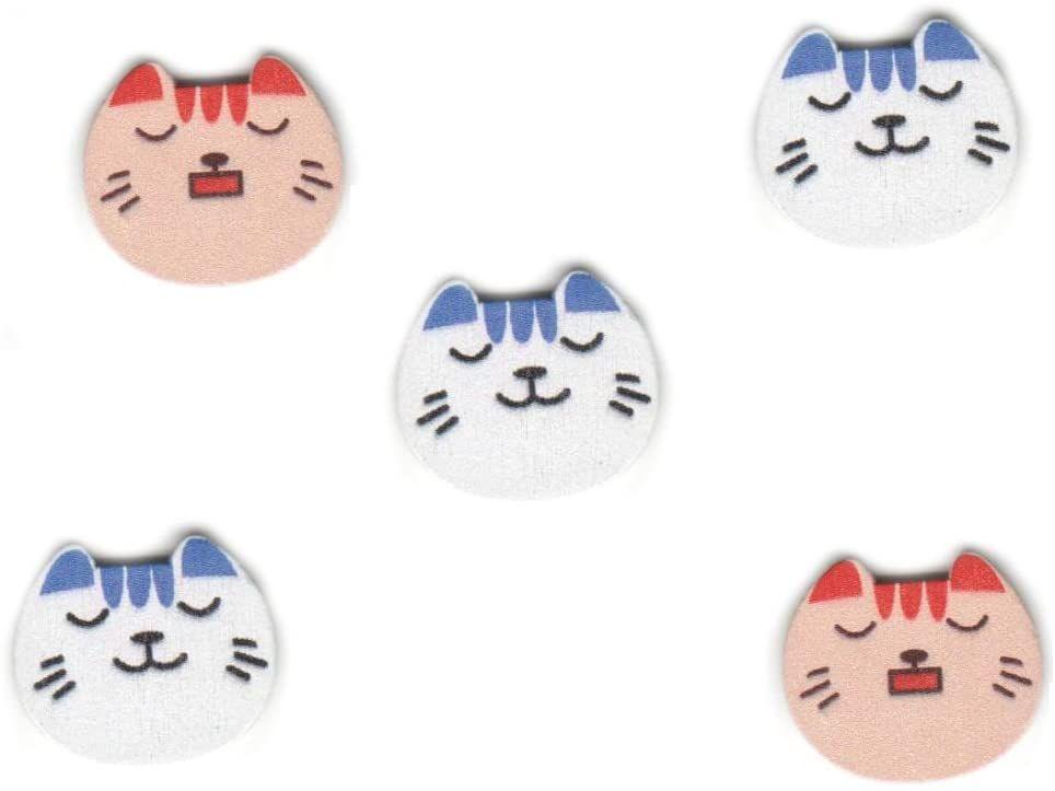 Cat Face Wooden Craft Embellishments x 10