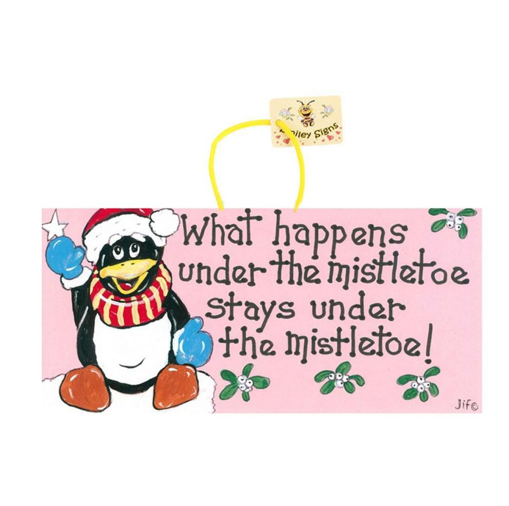 Funny Penguin Christmas Hanging Sign