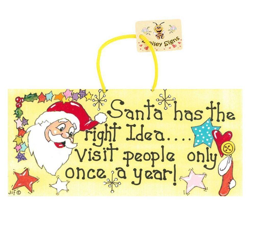 Santa Christmas Funny Hanging Sign