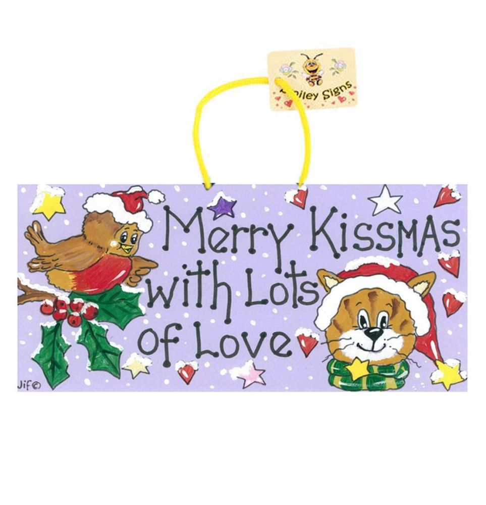 Cat and Robin Hanging Christmas Sign Pet Decoration