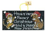 Cat and Dog Hanging Christmas Sign Pet Decoration