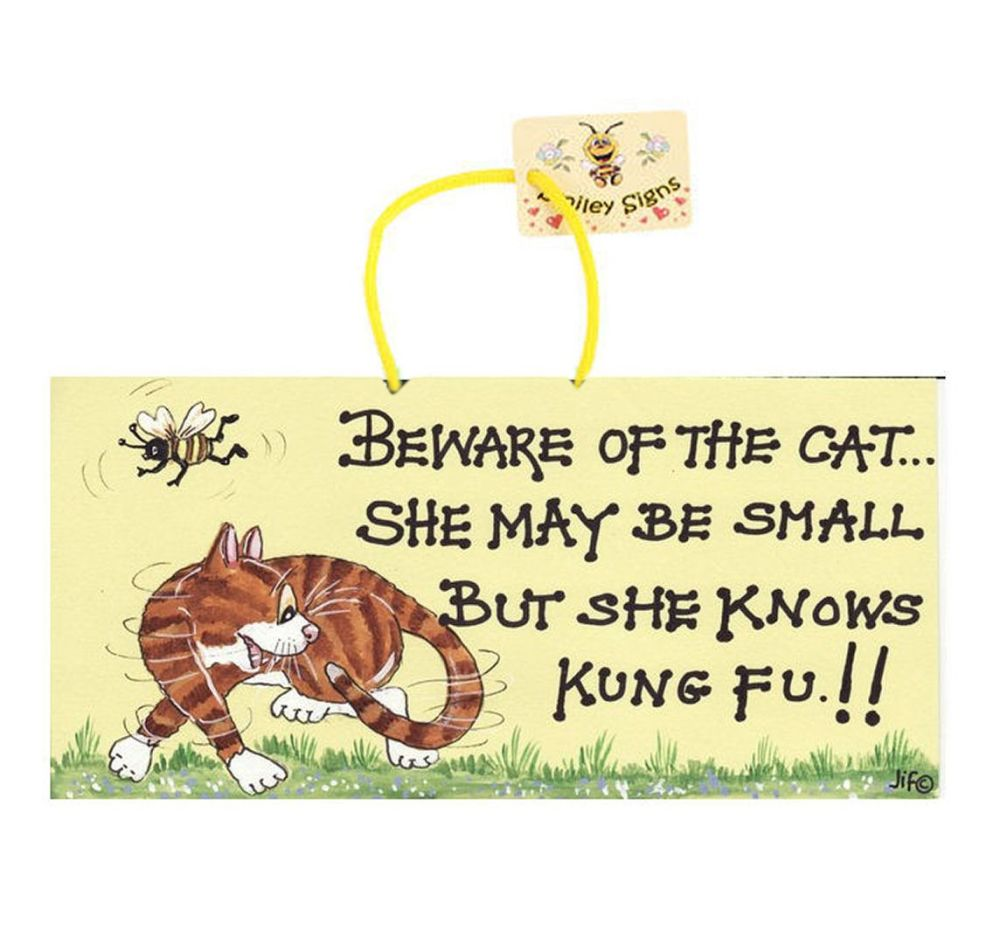 Beware of the Cat Hanging Sign