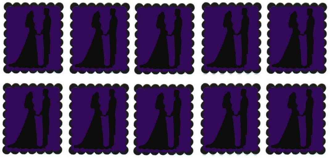 Purple Bride and Groom Flat Card Making Toppers
