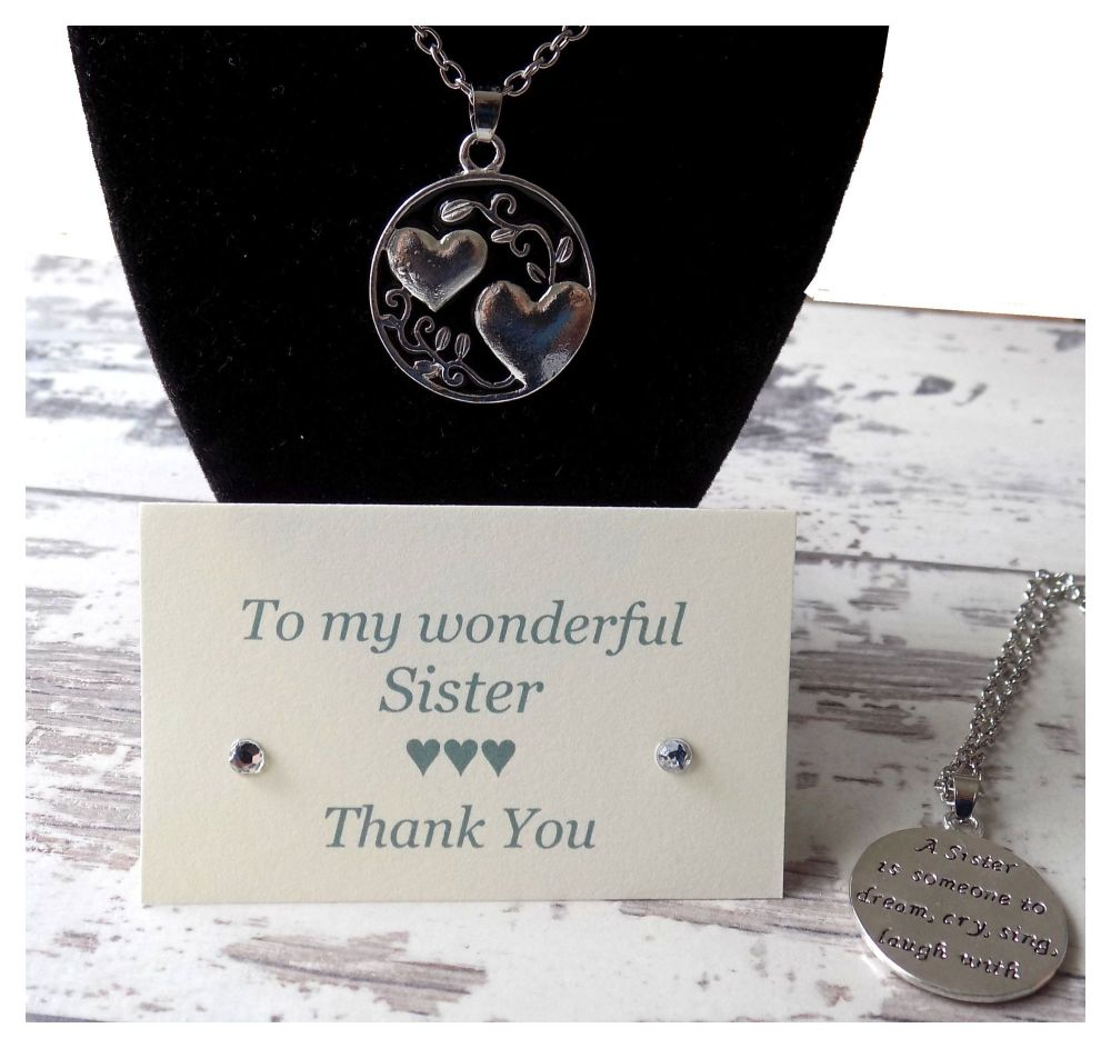 Sister Pendant Necklace with Thank You Card
