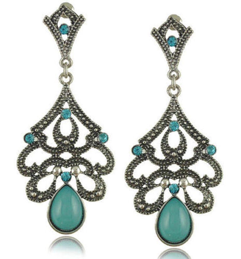 Indian Inspired Earrings with Turquoise Stones